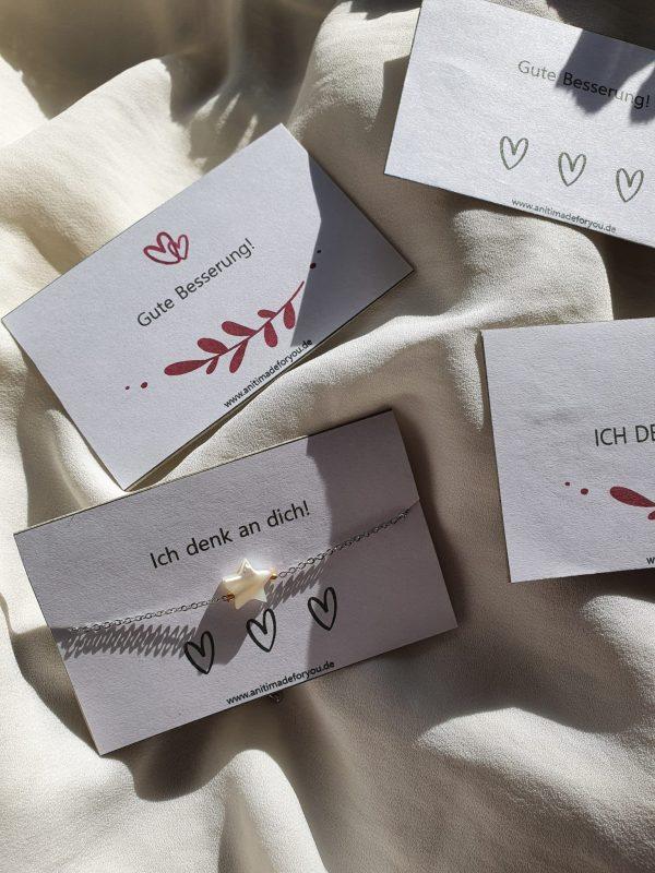 Armband auf Grußkarte Silber Stern Alles Interior Boho Scandi Look anitimadeforyou Concept Store Langenfeld Trockenblumen, Trockenblumen Kränze, Workshops, Schmuck