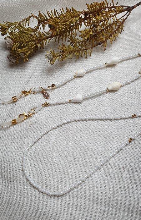 Brillen-Maskenkette White Gold Muschel Alles Interior Boho Scandi Look anitimadeforyou Concept Store Langenfeld Trockenblumen, Trockenblumen Kränze, Workshops, Schmuck