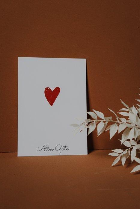 Postkarte Alles Gute Herz Alles Interior Boho Scandi Look anitimadeforyou Concept Store Langenfeld Trockenblumen, Trockenblumen Kränze, Workshops, Schmuck