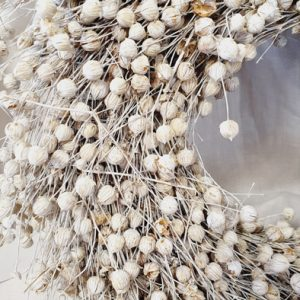 getrockneter Flachskranz weiß 30cm Alles Interior Boho Scandi Look anitimadeforyou Concept Store Langenfeld Trockenblumen, Trockenblumen Kränze, Workshops, Schmuck