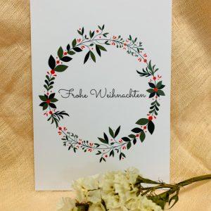 Postkarte Frohe Weihnachten Alles Interior Boho Scandi Look anitimadeforyou Concept Store Langenfeld Trockenblumen, Trockenblumen Kränze, Workshops, Schmuck