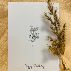 Postkarte Happy Birthday Alles Interior Boho Scandi Look anitimadeforyou Concept Store Langenfeld Trockenblumen, Trockenblumen Kränze, Workshops, Schmuck